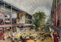 Interior view of the Crystal Palace in Hyde Park, London during the Great Exhibition of 1851.